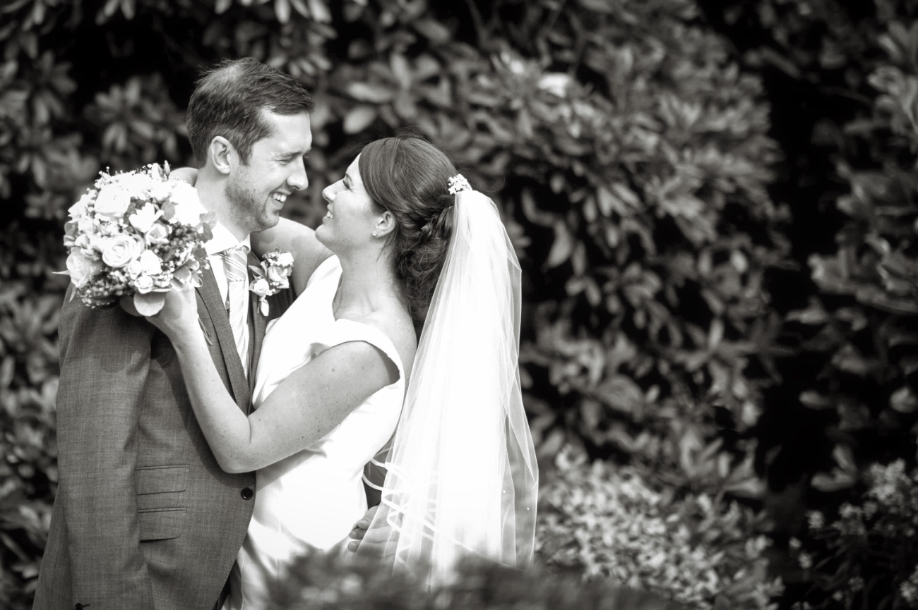 Lancashire Manor Hotel balck and white shot of couple looking at each other