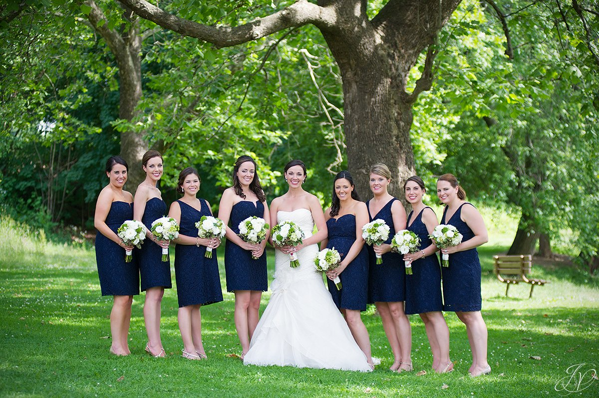 beautiful shot of brides in congress park saratoga springs