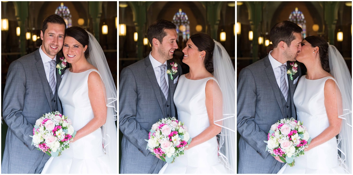 3 pictures of a bride and groom smiling and kissing