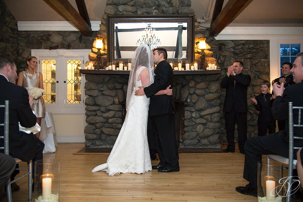 first kiss photo, bride and groom at alter photos, first look photos, wedding ceremony photos, Albany Wedding Photographer, Crooked Lake House wedding, old daley inn