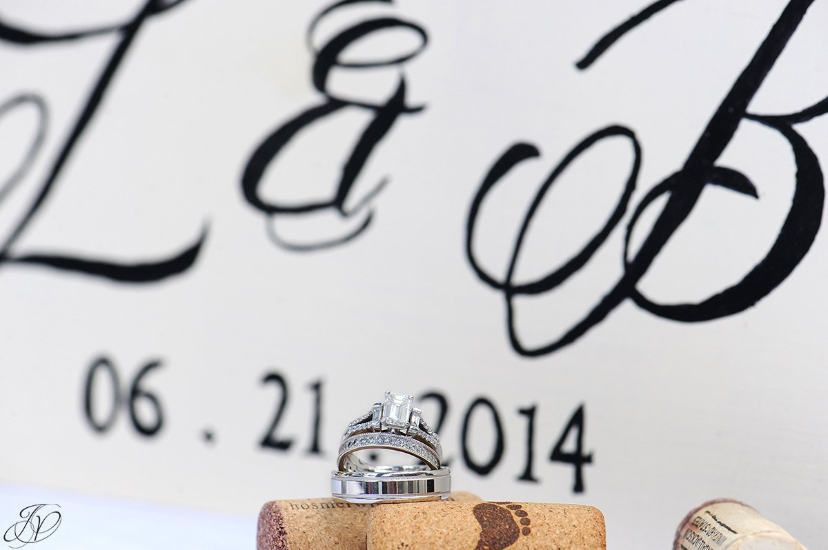 photo of wedding bands with wine corks