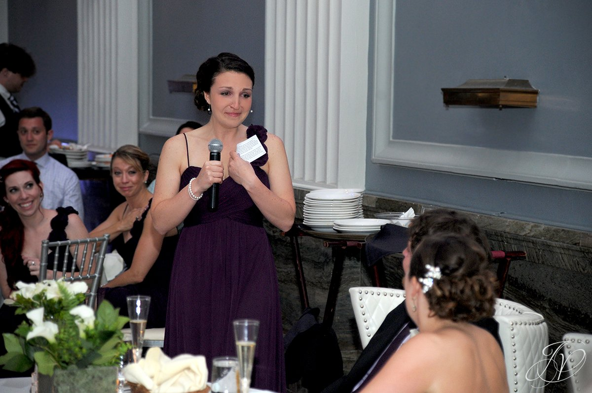 maid of honor speech, crying maid of honor, Key Hall Proctors reception, Schenectady Wedding Photographer