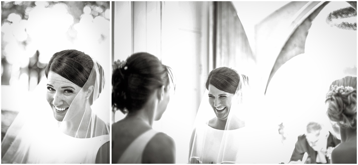 Ormskirk bride adjusting her viei before walking down the isle