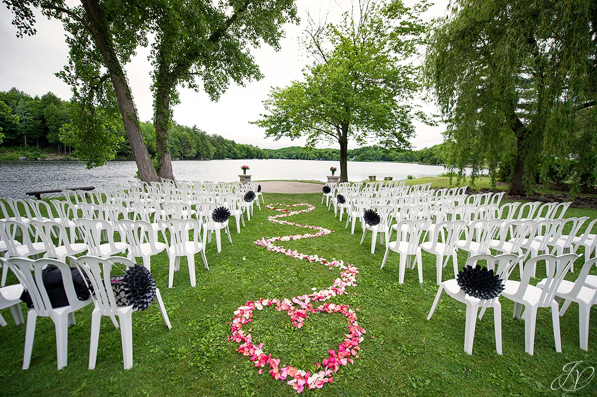 crooked lake outdoor ceremony set up
