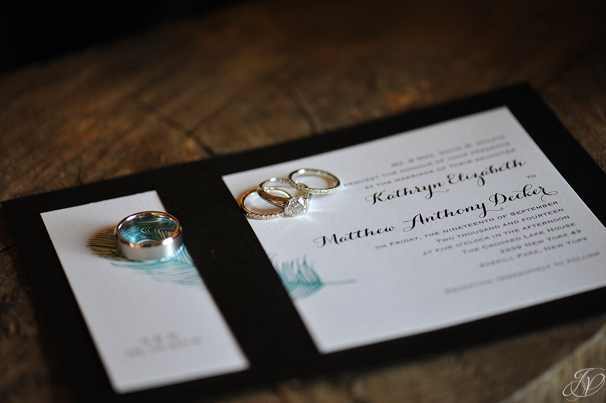 photo of wedding rings with invitation, jessica painter photography