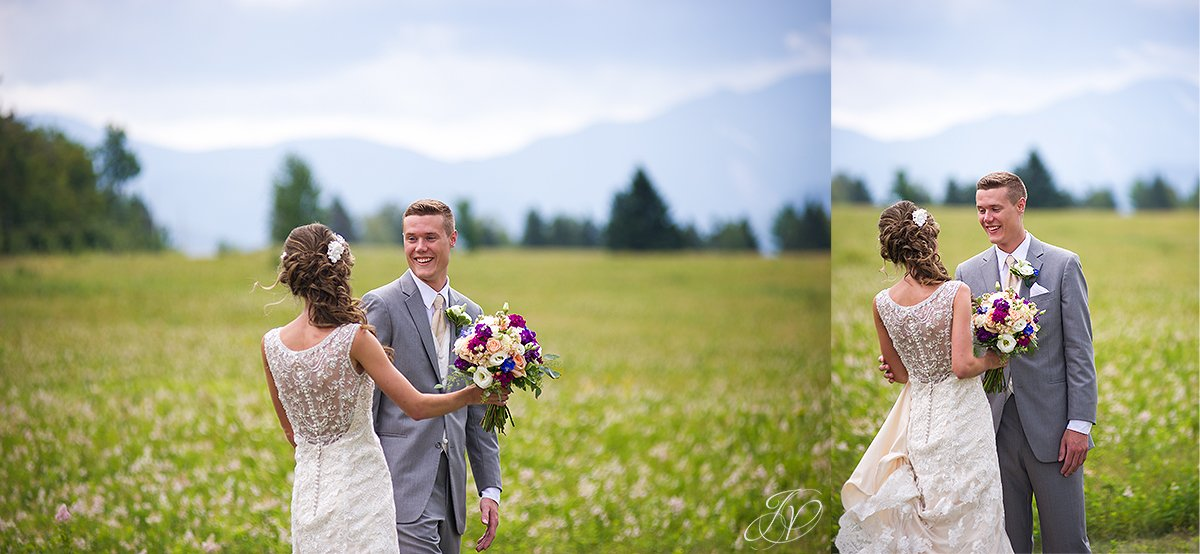 bride and groom first look lake placid
