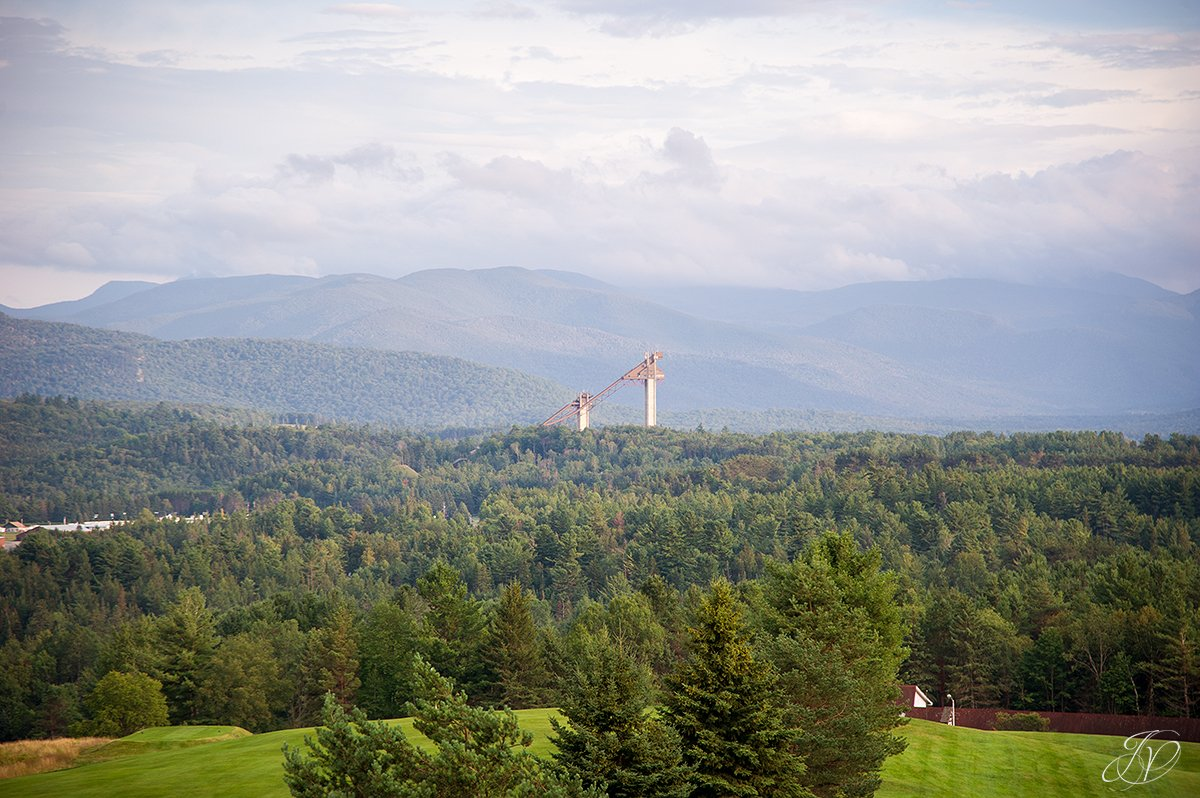view of the ski jumps in lake placid