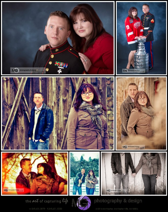 Rochester engagement, Studio engagement session, marine uniform for engagement session