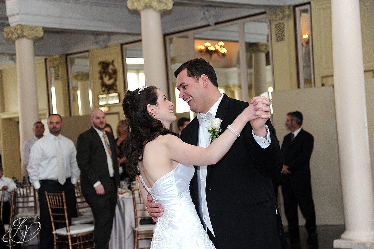 wedding first dance photo, bride and groom first dance,The Canfield Casino wedding, Saratoga Wedding Photographer, wedding in congress park photo