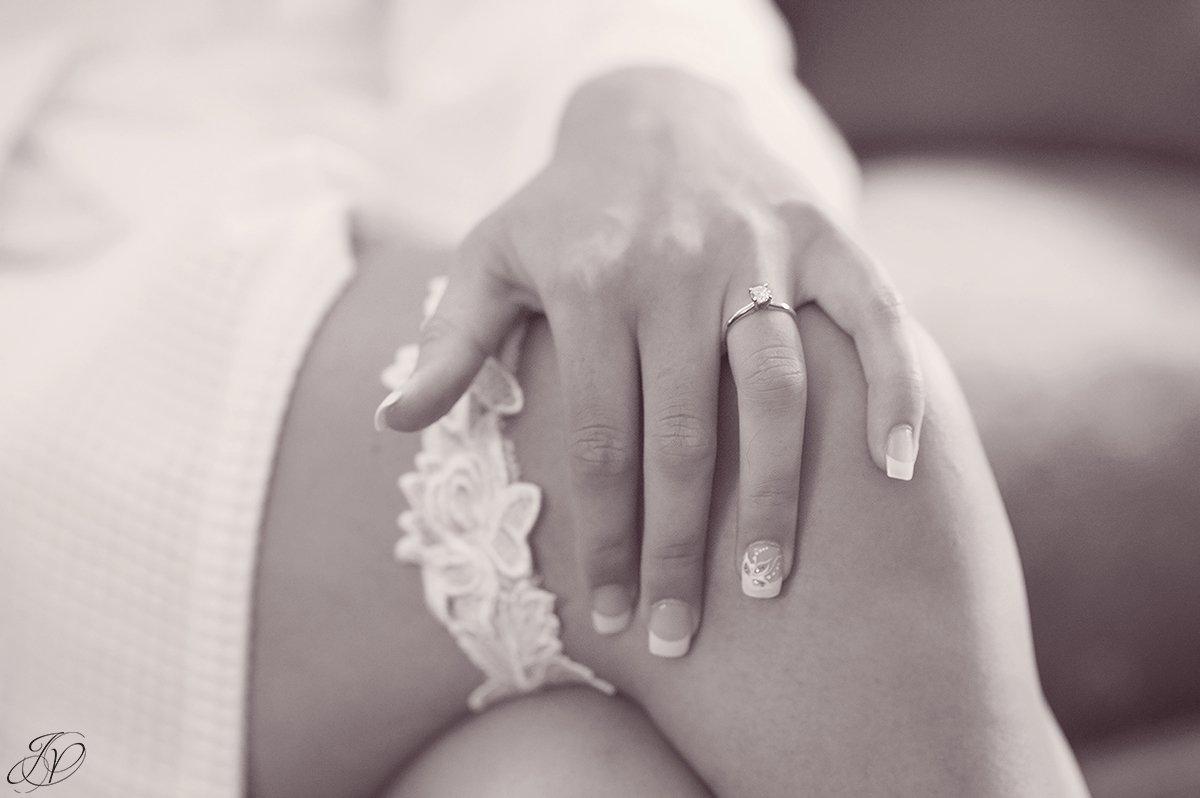 bridal garter on bride leg
