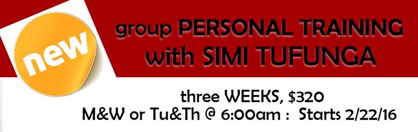 New!  Group Personal Training with Simi Tugunga