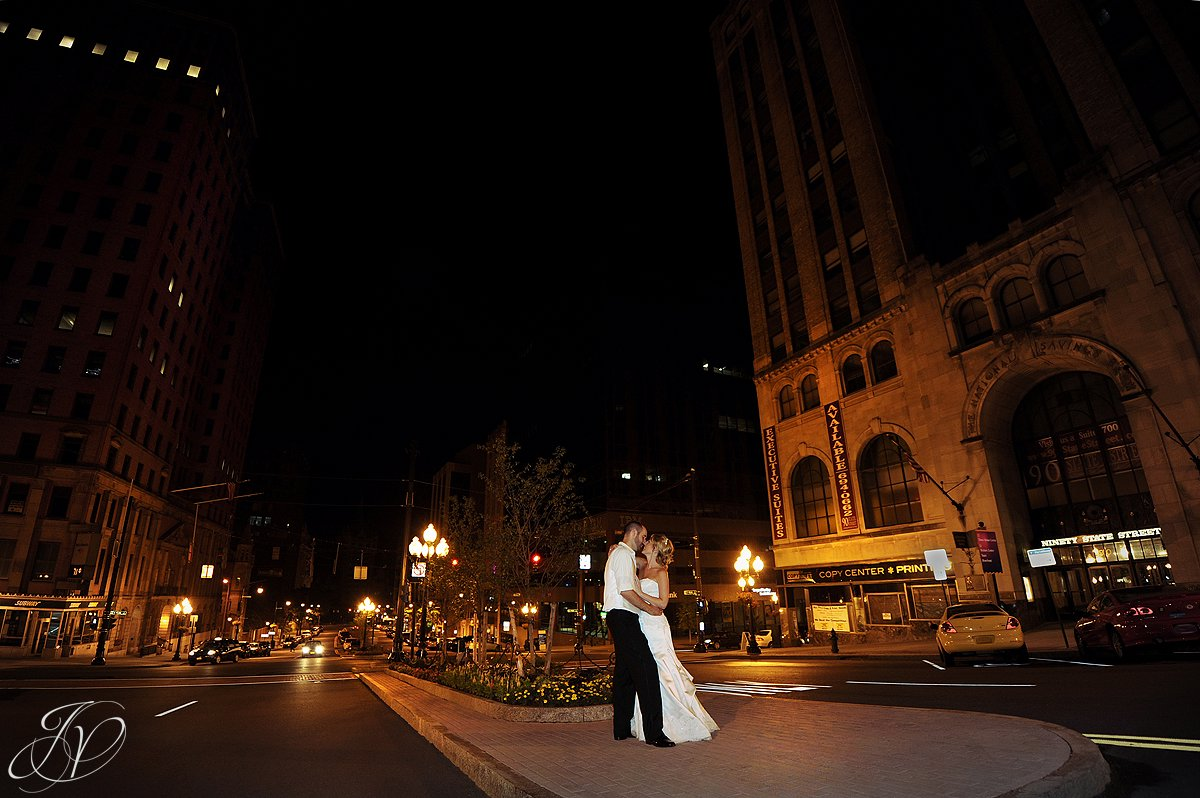 state street albany ny, wedding night photography, bride and groom on state street in albany