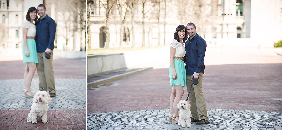 couple with their dog in albany, downtown albany engagement photos, albany engagement photographers, engagement session in downtown albany