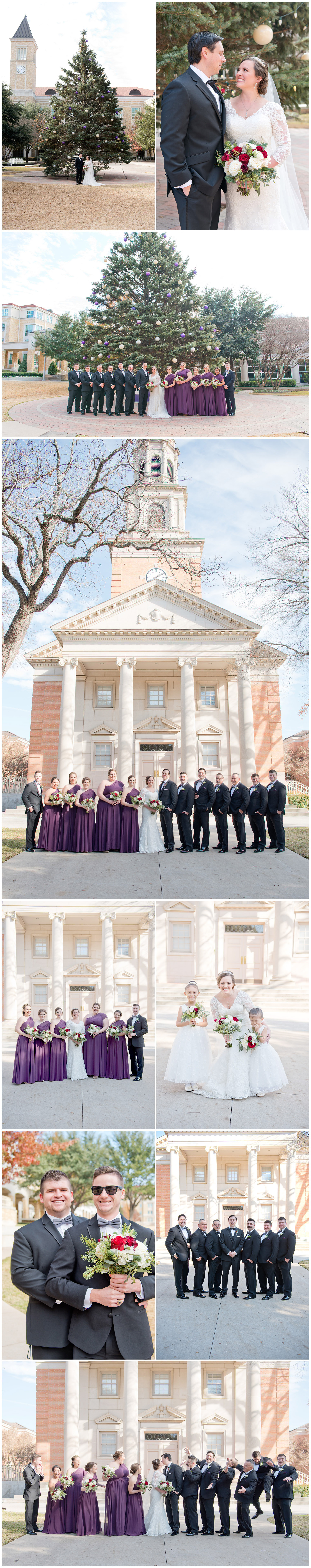 TCU Christmas Tree Bridal Party Portraits