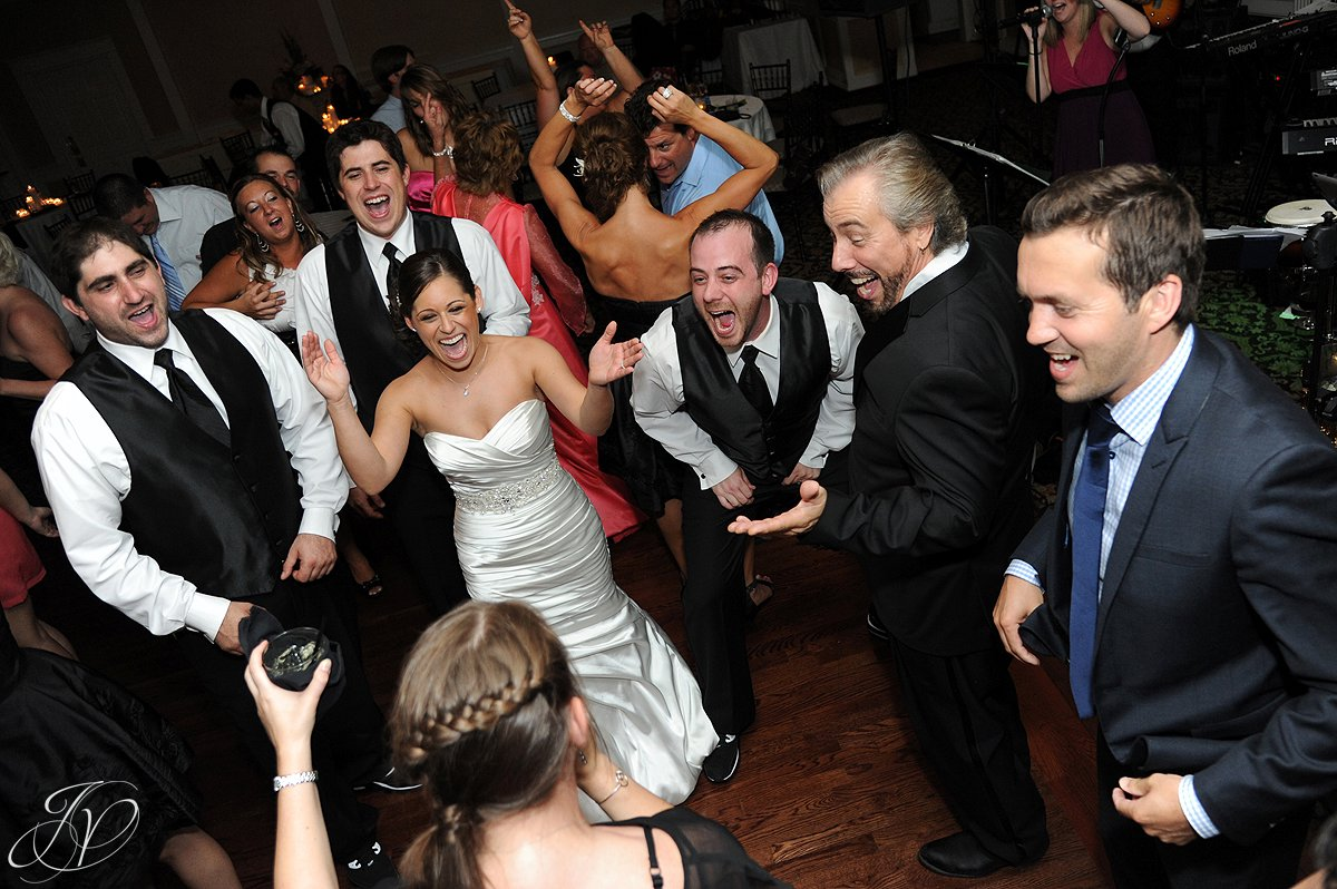 bride and groom partying, great wedding dance photo, Albany Wedding Photographer, The Glen Sanders Mansion