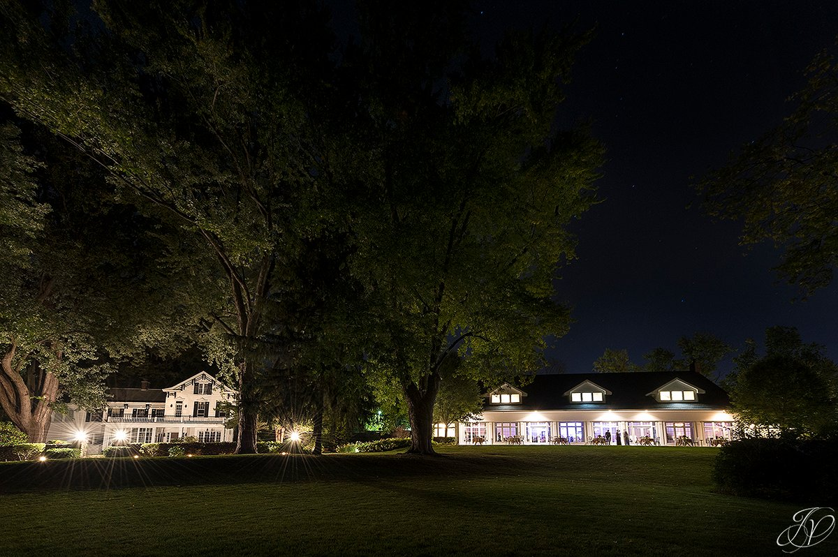 river stone manor at night, unique wedding night photos