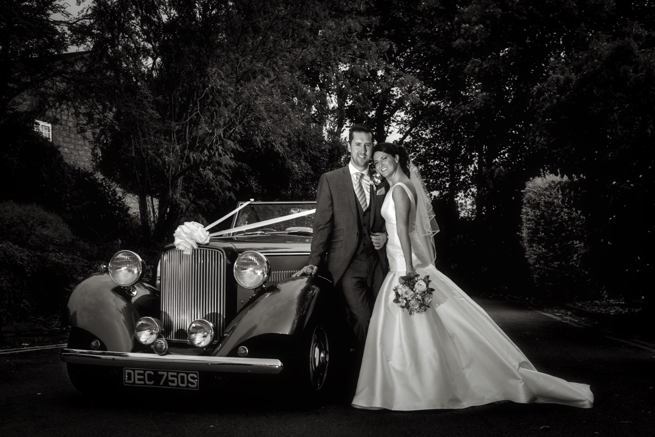 Malvern Wedding car black and white shot