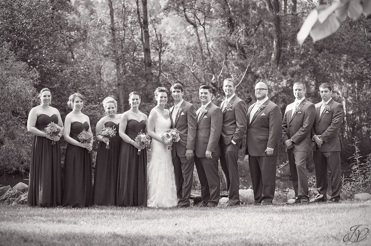photo of bridal party, black and white bridal party photo