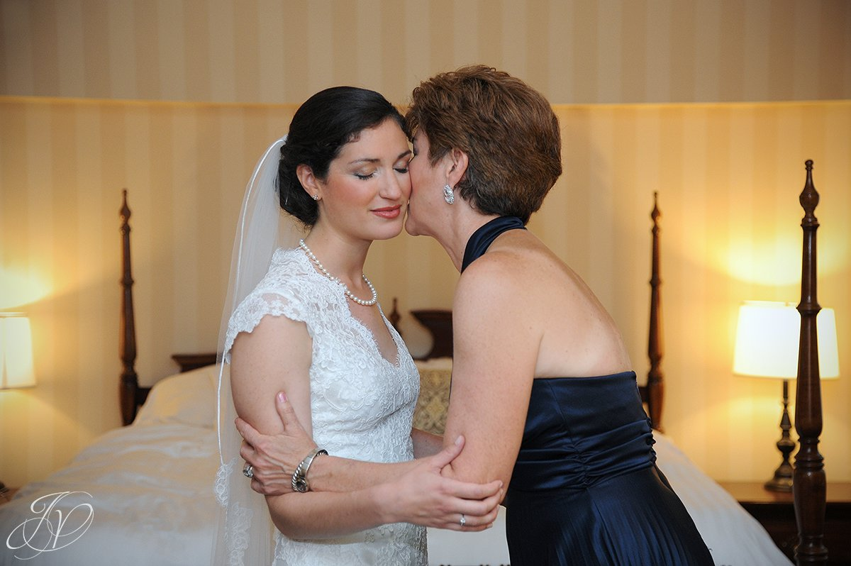 touching bride with mother photo, bride and mother portrait, bride and mother candid, Wedding at The Pruyn House, Albany Wedding Photographer