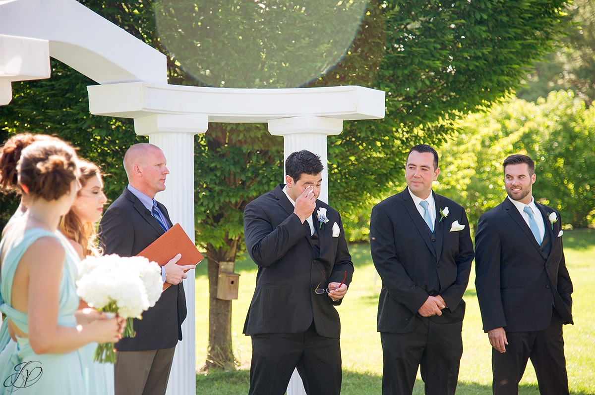 groom reaction to seeing bride down aisle shenandoah valley golf club
