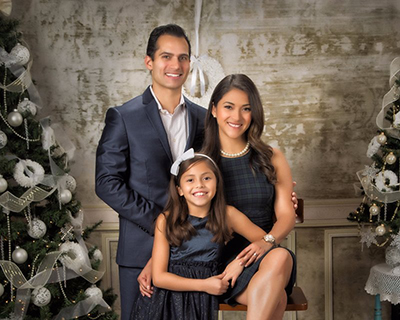 Holiday themed family portrait