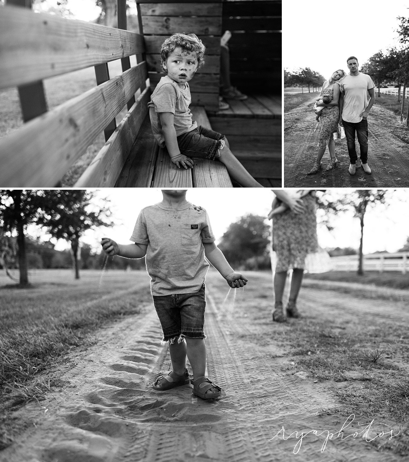 black and white image collage, Lochte family, spring photo gallery, Rya Duncklee